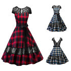 Womens Vintage Lace Plaid 1950s Rockabilly Evening Party Backless Swing Dress