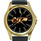 New* HOT JAMES BOND 007 Gold Or Silver Logo Round Metal Watch W/ Genuine Leather $26.16 CAD