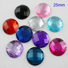 25MM Round Flat Back Rhinestone Square Facets Acrylic Diamond Loose Gems DIY