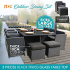 11PC PE Wicker Outdoor Furniture Set Garden Dining Table & Chairs Setting Black