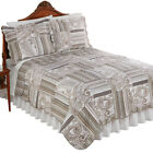 Romona Gray and Tan Paisley Quilt - Neutral Colors, Reversible Stripe Pattern image