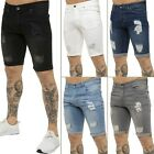 Kruze Mens Denim Shorts Stretch Regular Fit Distressed Ripped Half Jeans Pants