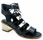 WOMENS BLACK OPEN-TOE STRAPPY SANDALS LACE-UP GLADIATOR BOOTS SHOES SIZES 3-8
