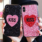 Fashion Bling Sparkle Glitter Love Kiss Soft Case Cover for iPhone X 6S 7 8 Plus