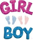 Baby Shower BOY or GIRL Word Foil Balloon 50cm x 22cm Air Fill Only