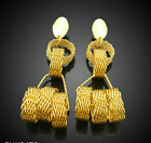 Goldplated Costume Jewelry Earring Pair Gold and Silver 3.5 inches in length