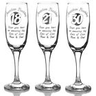 Personalised Birthday gifts 18th, 21st or 30th - Engraved Champagne Flute Glass