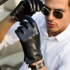 man real luxury lamb skin side button Italy leather  gloves black(large version)