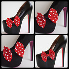 PAIR OF RED POLKA DOT SHOE BOW CLIPS ROCKABILLY BURLESQUE FOR HEELS (BOWS ONLY)