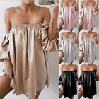 Women Loose Leisure Party Evening Tube Top Dress Cocktail Mini Dress Long Sleeve
