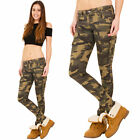 New Womens Slim Skinny Hipster Green Camouflage Cargo Trousers Combat Pants