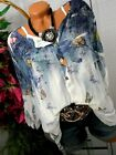 US Women Summer Butterfly Print Long Sleeve Loose T-Shirt Casual Blouse Tops