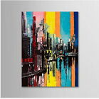 Hand Painted Abstract Canvas Oil Painting Wall Art Home Decor Cityscape 702