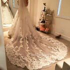 Cathedral Long Wedding Veils 1T Appliques With Comb Bridal White Ivory Lace 2018