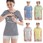 Women's Maternity Shirt Doubled Layered Ruched Nursing Tops Breastfeeding Blouse