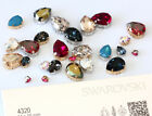 Genuine SWAROVSKI 4320 Pear Fancy Crystals with Sew On Metal Settings
