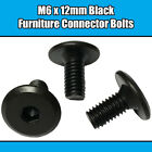 M6 x 12mm Black Furniture Connector Bolts Allen Joint Fixing Bed Cot Unit Table