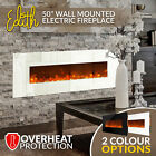 """1500W 50"""" Indoor Wall Mounted Electric Fireplace Fire Heater Realistic Flame"""
