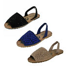 Ladies F0R691 Diamante Slingback Sandals By Spot On £9.99