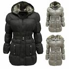 Ladies Womens Fur Hooded Puffer Quilted Padded Belted Parka Jacket Winter Coat