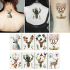 Colorful Flower Deer Tattoo Sticker Transfer Decal Waterproof Temporary Art Wort $1.03 USD on eBay