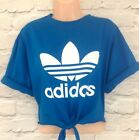 Reworked ADIDAS ORIGINALS Crop Top Tie At The Front T shirt Blue ONE SIZE