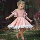Kids Baby Girls Dress Lace Floral Party Dress Short Sleeve Solid Dresses Clothes