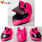 Women Unisex Pink Cute Full Face Motorcycle Helmets With Cat Ear Horn XL size