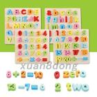 Wooden Maths Alphabet Puzzle Toy Early Learning Educational Toy Building Blocks