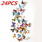 24-96pcs 3D Butterfly Design Decal Art Wall Stickers Room Decorations Home Decor