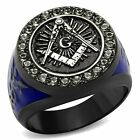Stainless Steel Black & Blue Ion Plated Brilliant Crystal Masonic Freemason Ring