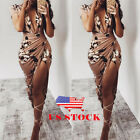 US Womens Floral Print Deep V Ruched Slit Bodycon Evening Party Cocktail Dress