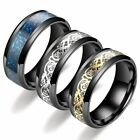8mm Tungsten Carbide Ring Celtic Dragon Carbon Fibre Mens Jewelry
