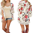 UK Fashion Women Holiday Lace Floral Kimono Cardigan Ladies Summer Tops Blouse New with tags