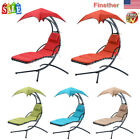 Hanging Chaise Lounger Chair Air Patio Swing Hammock Chair W/ Canopy & Arc Stand