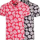 Mens Summer Leaf Leaves Floral Hawaiian Short Sleeve Viscose Holiday Casual Top