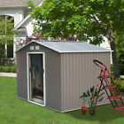 4 Size Outdoor Steel Storage Shed Tool House Backyard Garden Lawn Sliding Door V