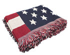 American Flag Top Quality Double Knit Tapestry Tassels Multi-use Throw Blanket