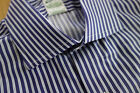 NWT Brooks Brothers Egyptian Cotton Blue Stripe Spread Collar Milano MSRP $185