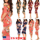 Maternity Floral Dress Women's Fashionable Wear Pregnancy Clothes Short Sleeve