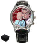 PERSONALISED CUSTOM MENS  WRIST WATCH YOUR FAMILY PHOTO GIFT ENGRAVING
