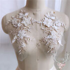 1 Pair 3D Flower Lace Embroidery Bridal Applique Beaded Tulle DIY Wedding Dress