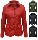 Ladies Diamond Quilted Padded Button Womens Jacket Coat Plus Sizes 6-22