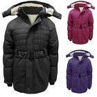 Girls Kids Winter Puffer Warm Padded Belted Hooded Fully Lined Jacket Coat