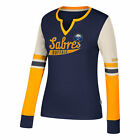NHL Buffalo Sabres CCM Henley Long Sleeve T Shirt Womens $31.9 USD on eBay