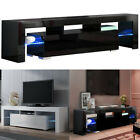 Black White TV Stand Cabinet with Glass Organiser Shelf For Living Room Lounge