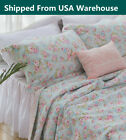 3PCS Shabby Chic Cottage Queen Floral Blue Cotton Quilt Coverlet Bedspread Set image