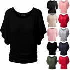 New Ladies Womens Oversized Round Neck Ruched Batwing Sleeve Baggy T-Shirt Top