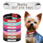 Custom Personalized Leather Dog Collar Name Plate ID Collar with Free Engraving