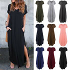 Fashion Womens V Neck Short Sleeve Loose Casual Long Maxi Dress Pockets Split